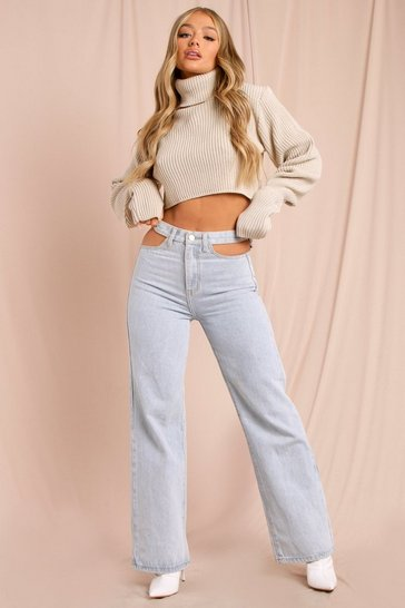 Light wash Cut Out Waist Wide Leg Jeans