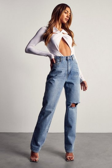Light wash High Waist Distressed Knee Straight Leg Jean