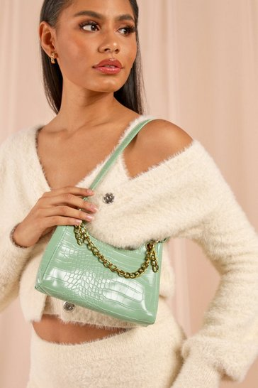 Sage Structured Chain Detail Croc Shoulder Bag