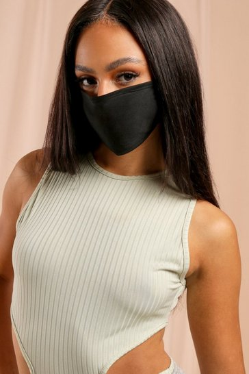 Black 3 Pack Plain Fashion Face Mask