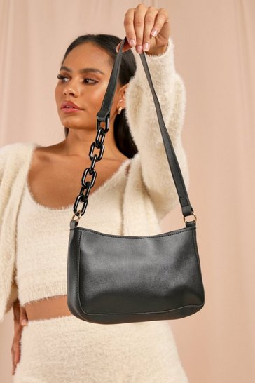 Black Oversized Chain Detail Shoulder Bag