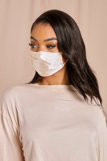 Cream Satin Fashion Face Mask