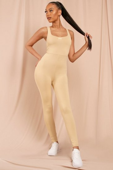 Camel MISSPAP Label Scoop Neck Jumpsuit Unitard
