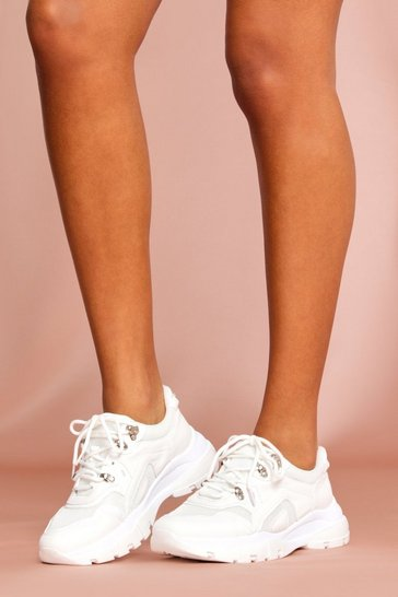 White Chunky Metal Trim Sports Sneakers