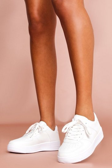 White Lace Up Chunky Flatform Trainer