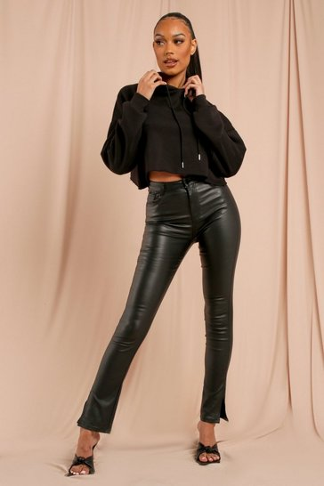 Black Side Split Hem PU Coated Trouser