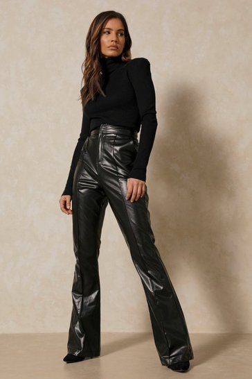 Black Leather Look Flare Leg Trouser