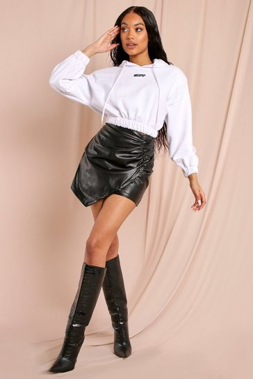 Black Leather Look Ruched Side Mini Skirt