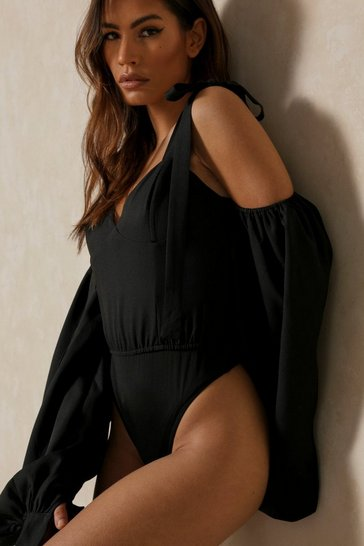 Black Tie Shoulder Puff Sleeve Cupped Bodysuit