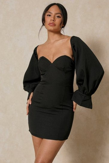 Black Off The Shoulder Cupped Detail Mini Dress
