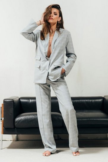 Grey Checked Relax Fit Tailored Trousers