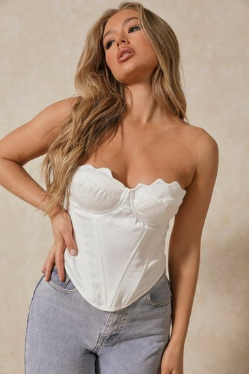 White Scallop Detail Cupped Corset Top