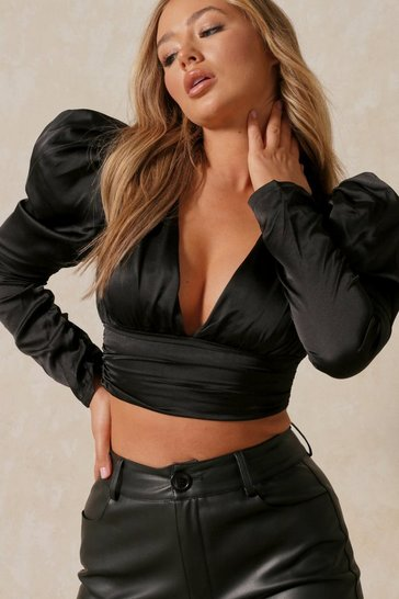 Black Satin Puff Sleeve Plunge Crop Top
