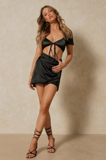 Black Satin Side Ruched Mini Skirt