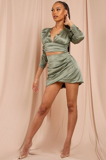 Olive Satin Wrap Ruched Mini Skirt