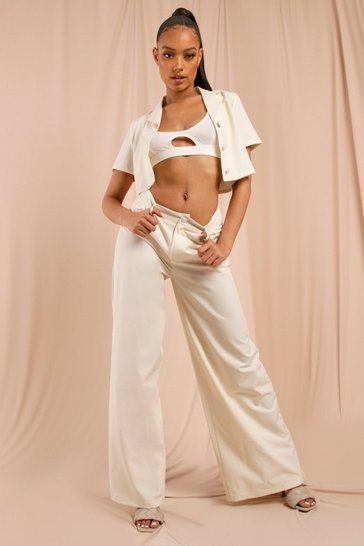 Stone Linen Look High Waisted Wide Leg Trouser