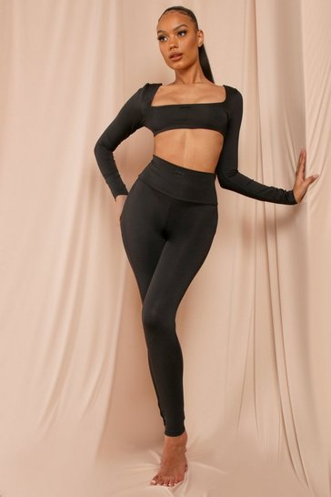 Black MISSPAP Label Dipped Seam High Waist Legging