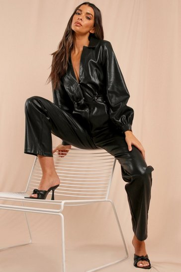 Black Misse Leather Look Straight Leg Boiler Suit