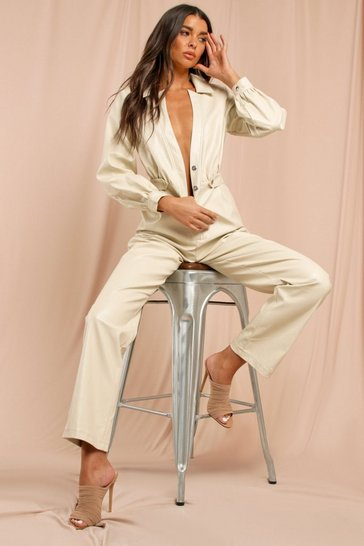 Cream Leather Look Straight Leg Boiler Suit