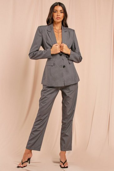Grey Misse Cut Out Back Pocket Front Blazer