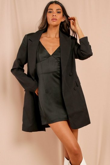 Black Misse Satin Contrast Shoulder Blazer