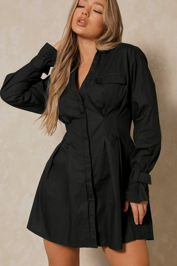Black Poplin Tie Sleeve Pleated Shirt Dress