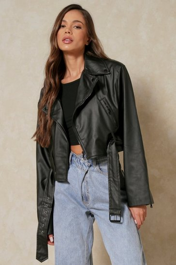 Black Misse Faux Leather Oversized Moto Jacket