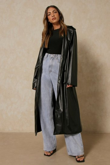Black Leather Look Longline Trench Coat