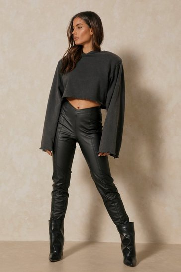 Black Leather Look V Waistband Trouser