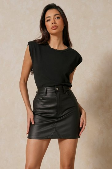 Black Leather Look Coated Twill Denim Mini Skirt