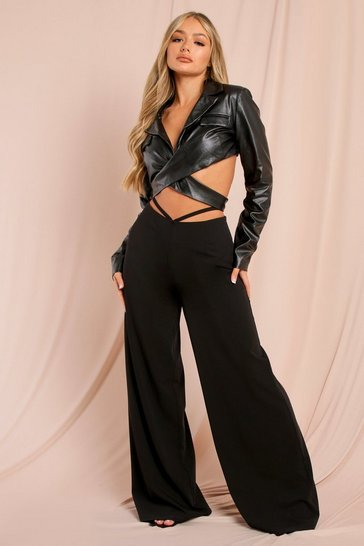 Black Leather Look Wrap Cut Out Crop Top