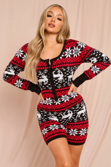 Black Fairisle Christmas Shorts Onesie
