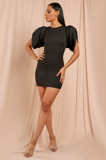 Black Extreme Volume Shoulder Mini Dress