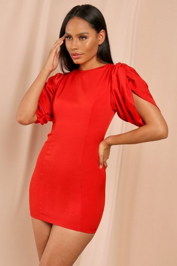 Red Extreme Volumne Shoulder Mini Dress