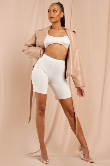Cream Rib Knit Cycling Shorts