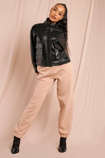 Black Leather Look Boxy Utility Jacket