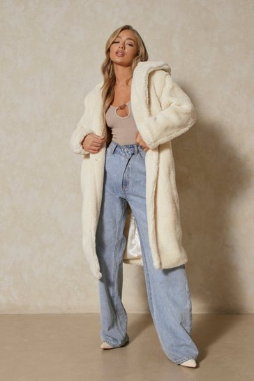 Ivory Hooded Maxi Teddy Coat