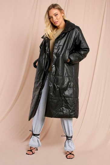 Black Leather Look Maxi Puffer Jacket