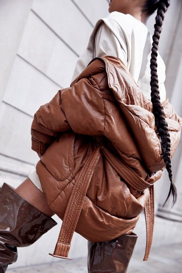 Camel Leather Look Belted Puffer Hooded Jacket