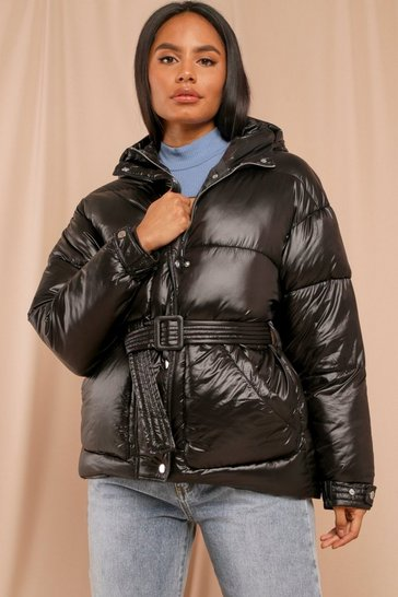 Black Belted Fashion Puffer Hooded Jacket