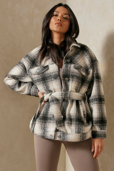 Black Brushed Check Oversized Belted Jacket
