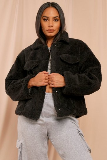 Black Oversized Faux Teddy Fur Pocket Detail Trucker