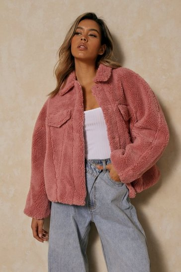 Blush Oversized Faux Teddy Fur Pocket Detail Trucker