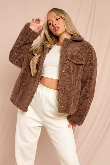 Chocolate Oversized Faux Teddy Fur Pocket Detail Trucker
