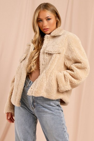 Cream Oversized Faux Teddy Fur Pocket Detail Trucker