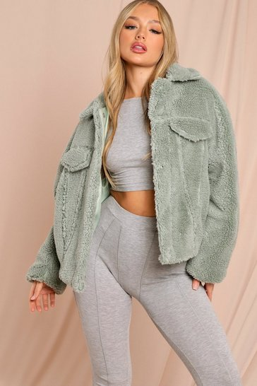 Sage Oversized Faux Teddy Fur Pocket Detail Trucker