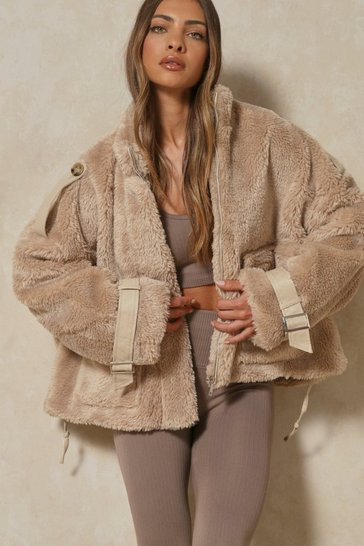 Camel Oversized Cuffed Teddy Bomber Jacket