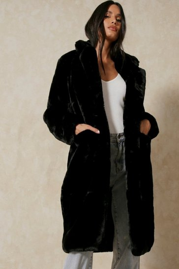 Black Longline Midaxi Oversized Faux Fur Coat