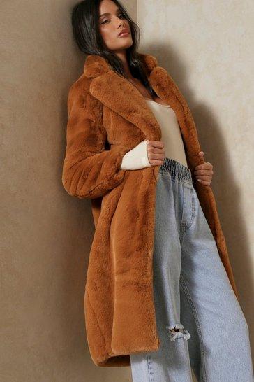 Brown Large Lapel Midaxi Faux Fur Coat