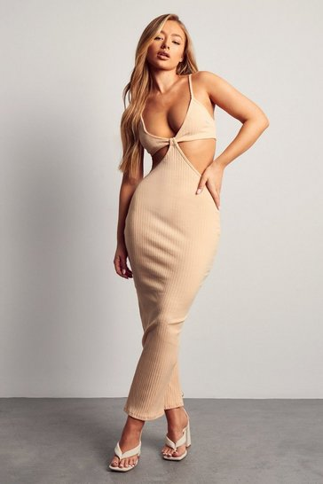 Stone Missé Ribbed Strappy Cut Out Midaxi Dress